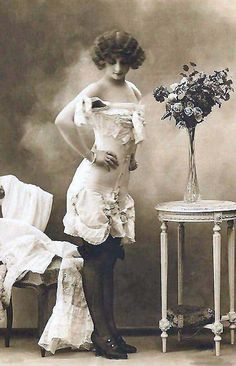 Young woman in underwear ca. 1915