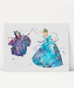 Cinderella and Fairy Godmother Watercolor Illustration, Wall Art, Art Print, Disney Princess Inspired