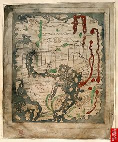 East is at the top.  Red sea, Persian Gulf and Nile River (and other rivers) are in red.  Black Sea is squashed.  Caspian Sea opens to the ocean in the North.  Italy is a strange shape.  So interesting to see what was understood about the world. - - - Anglo-saxon Mappa Mundi c. 1050-1075