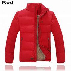 Polo Ralph Lauren Men Full-Zip Pony Padded Down Jacket Red