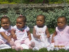 2 sets of twins! Leah & Lailah (fraternal) sitting with Reese & Keira (identical).