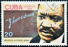 """Cuban stamp - Martin Luther King, """"I have a dream"""", circa 1986"""