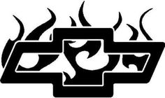 Chevy Symbol With Flames Chevy Tattoo, Truck Tattoo, Truck Decals, Vinyl Decals, Window Decals, Chevy Stickers, Truck Stickers, Droopy Dog, Skull Coloring Pages