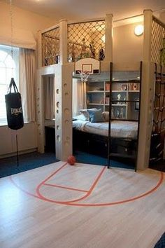 Boy teens room - you must need a big budget for this still really cool idea #kidsrooms