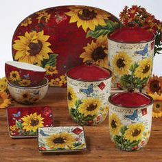 Shop Certified International at Wayfair for a vast selection and the best prices online. Enjoy Free and Fast Shipping on most stuff, even big stuff! Sunflower Themed Kitchen, Sunflower Kitchen Decor, Sunflower Decorations, Red Kitchen Curtains, House Essentials, Dining Decor, Aesthetic Room Decor, Dinner Sets, Vintage Glassware