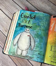 """I love when a """"Disney"""" movie speaks to me through the lens of our creator. #biblejournaling #brushcalligraphy #biblejournalingcommunity #baemax #inktense """"I was not created for that!"""""""