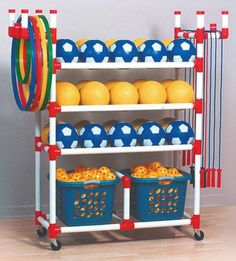 Duracart Playground Cart Standard - 2 Baskets - Baskets 1 1/2 x 17 x 12 - Cart 59 1/2 x 19 x 63 - CLASSROOM DIRECT