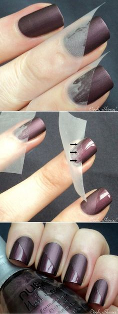 These two-toned nails are absolutely gorgeous. All you will need is tape and glossy nail polish.: