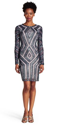 Question: Does this fit the palette? Adrianna Papell | Long Sleeve Beaded Cocktail Dress
