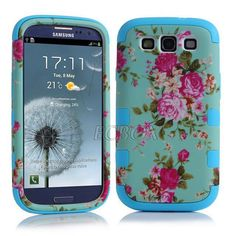 KINGCO For Samsung Galaxy Triple Layer Elegant Floral Flower Printed Design PC+Silicone Hybrid High Impact Defender Case Combo Hard Soft Cases Covers(Baby pink) Baby Cover, Cute Phone Cases, Silicone Gel, Samsung Galaxy S3, Floral Flowers, Flower Prints, Galaxies, Print Design, Iphone