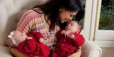 Rosana Jatobá com seus gêmeos Lara e Benjamin