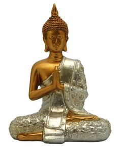 Serene gold and silver finish Buddha statue available at BuddhaGroove.com