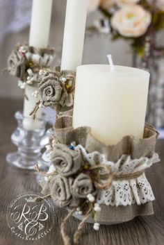 Rustic Unity candles \ Rustic Chic Wedding \ with burlap flowers\ ivory lace\ brown rope\ burlap rose\flowers handmade\3 pcs