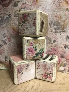 Shabby Chic Art, Shabby Chic Farmhouse, Vintage Oddities, Art Cube, Haunted Dolls, Eclectic Wedding, Block Craft, Baby Blocks, Doll Parts