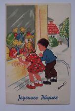 CPC43 cpa fantaisie JOYEUSES PAQUES HAPPY EASTER enfants illustrée par BERNET