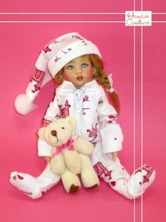 "Christmas morning and our little Riley girl looks so sweet coming down the stairs!  New, 100% cotton one-piece pajamas feature pink castles with the words ""Princess"" and ""Once upon a time,"" with nylon-zipper.  The set includes a Teddy bear friend and a night-cap to keep her warm and toasty! By Hankie Couture, sold on Ebay in November 2014  ♡ #HankieCouture #doll #Riley #Kish #handmade ♡"