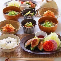 instagram - ピーマンの肉詰め、小松菜の白和え、もやしと人参の中華サラダ、大根のお味噌汁