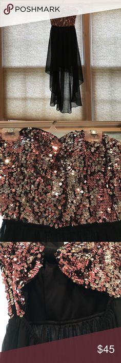 Sequin top high low dress Pink and silver sequin top. Black sheer (but not see thru) high low attached skirt. Open keyhole back. Strapless. Very good condition (has slight tear at bottom, but barely noticeable unless you are looking for it) Hailey Logan Dresses High Low