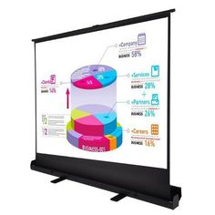 """Floor Stand Pop Up Portable Projector Screen 100"""" 4:3 by Mega Brands. $169.95. Brand new in box and ready to ship 100"""" diagonal 4:3 screen format offers 80"""" x 60"""" viewing area Premium matte white surface diffuses projected light uniformly High contrast 1.3 gain screen optimizes picture quality 4-side black masking borders increase picture focus & contrast Black-backed screen material eliminates light penetration Equipped with a scissor jack mechanism in the rear Self-suppor..."""