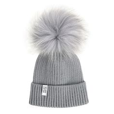 Lux Gray Fur Pom Beanie Light Gray (£36) ❤ liked on Polyvore featuring accessories, hats, beanies, grey hat, gray hat, pom beanie, beanie cap and fur beanie hat