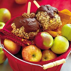 Caramel Apples    These gourmet apples are double dipped in melted chocolate and caramel, then rolled in toasted pecans. For an even quicker treat using caramel apple wraps, try our Candy Apples.