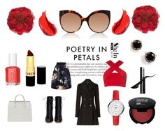 """""""Poetry in Petals"""" by cris-conde ❤ liked on Polyvore featuring Motel, Burberry, Gianvito Rossi, Linda Farrow, FOSSIL, Gucci, Kate Spade, Essie and Revlon"""