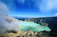 Ijen Plateau, Indonesia    Sulphur Lake and volcanic steam, Ijen Plateau.