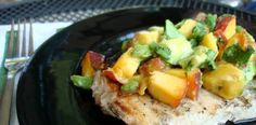 Awesome. I just bought swordfish at Traderr Joe's!! PaleOMG grilled swordfish with peach and avacado salsa