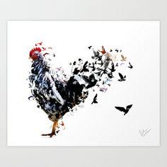 Chicken Art Print by Monika Terlikowska - $18.00