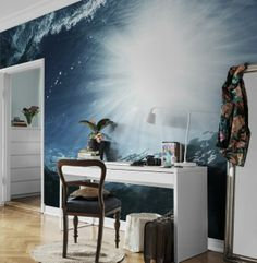 This ocean mural is unique with it's underwater perspective and sun shining from above. http://www.wowwallpaperhanging.com.au/interior-wallpaper-trends-for-2014/