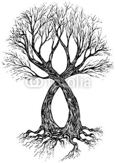 infinite tree tattoo idea blended with forest & birds A, V, N, H, V