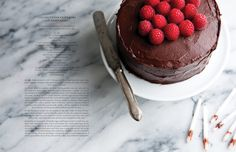 coconut choclate cake with raspberries