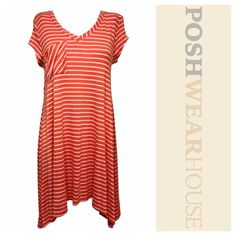 """Coral & White Casual Tee Shirt Batwing Dress Pullover application • Great stretch • Length 34""""-39"""" • Bust 38""""-48"""" • Waist up to 50"""" • Rayon & Spandex • 11340.  Like what you see? Follow me!  On PM @PoshWearHouse  On IG www.instagram.com/PoshWearHouse  On FB www.facebook.com/PoshWearhouse No Comment Dresses Midi"""