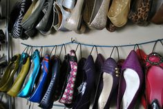 DIY shoe hangers - Note to self, hide behind curtain or room divider? Maybe a mirror?