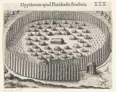 Theodor de Bry | Indianendorp in Florida, Theodor de Bry, Johann Theodor de Bry, Anonymous, 1591 | Een twintigtal hutten staan in een omheining uit boomstammen. In het midden staat een grotere hut met een zadeldak. De omheining is rond en heeft maar een ingang. Bij de ingang staan twee hutten voor de wacht.