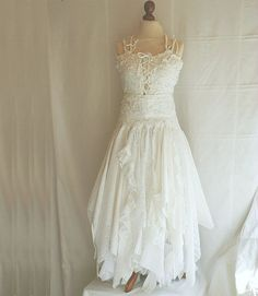 Fairy Wedding Dress, tattered romantic look, made to order. This would be great for an outdoor wedding! by cutrag, $301.01