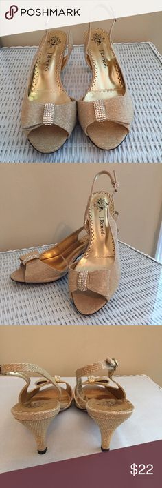 J Renee Dayna Shimmering Gold Heels Awesome party shoe. They make any outfit pop!  They have a 3 inch heel and are comfortable to wear.  Small nick on one heel as shown in last picture. No box.  No trades or Paypal. J Renee Shoes Heels