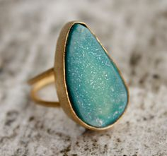 Aqua Blue Agate Druzy Ring  Blue Geode Ring  Adjustable by OhKuol, $49.00