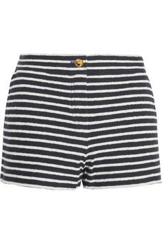 Sally striped cotton-terry shorts by Tory Burch