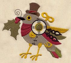 Clockwork Christmas Bird | Urban Threads: Unique and Awesome Embroidery Designs