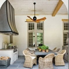 outdoor space, fan and hood