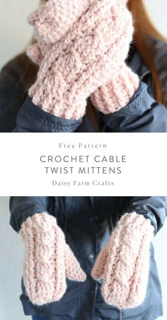Crochet Beanie Ideas Free Pattern - Crochet Cable Twist Mittens - After making the simple cable baby sweater, Hannah and I thought that the cable would look so great in mittens! Crochet Mittens Free Pattern, Crochet Gratis, Crochet Stitches, Free Crochet, Knitting Patterns, Knit Crochet, Crochet Patterns, Crochet Twist, Crotchet