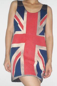 Black Union Jack Lady Singlet T-Shirt Mini dress