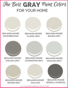 Gray Paint Colors for Your Home - (Best Benjamin Moore Gray Paint) Want to go with gray paint for your home? All of the choices can be overwhelming. These Benjamin Moore gray paint colors are perfect every time! Best Gray Paint Color, Neutral Paint Colors, Exterior Paint Colors, Wall Colors, Best House Colors Exterior, Pale Grey Paint, Warm Gray Paint, Modern Paint Colors, Greige Paint Colors