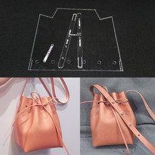 Handmamde mujer bolso acrílico de cuero Plantilla de cuero patrón DIY Leathercraft patrón de costura plantillas 20x24x11 cm