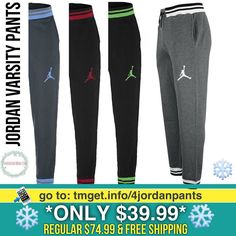 Jordan Varsity Pants $39.99 (Regular $74.99)  FREE Shipping Click link in my bio @tomorrowsmom -read . .  Type this link on your browser: . http://tmget.info/4jordanpants  or follow the link in my Bio a@Tomorrowsmom at TomorrowsMom.com #tomorrowsmom . #holidays #christmas #gifts #frugal #savings #deals #couponcommunity #fitcommunity