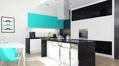 Kuchnia w stylu Tiffany Blue z okapem kuchennym Toredo Inox 40.3 Eko Max marki GLOBALO