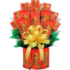 The Reese Candy Bouquet I'm making for Valentines Day. A great alternative for flowers, for the man you love....Made this for my husband and it was really easy! I used an assortment of candy bars. He loved it! JM