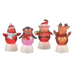 Four Assorted Mini Shimmer Holiday Character Lights, by Midwest CBK, Batteries Included, 022702   $20.00 Shimmer Lights, Jar, Christmas Ornaments, Holiday Decor, Mini, Character, Color, Christmas Jewelry, Colour
