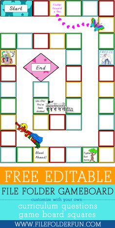 Editable File Folder Game - With this game you can edit the squares around the board, and the question cards. This is a great way to review any subject that needs a little jazzing up.